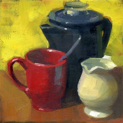 """Red mug"" original fine art by Kathy Weber"