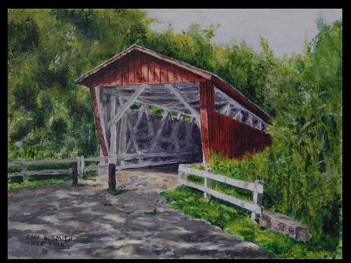 """Everett Road Covered Bridge, Summer 2014"" original fine art by Captain B Smith"