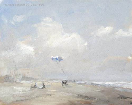 """""""Seascape spring # 26 Sandstorm - Hollandse kust"""" original fine art by Roos Schuring"""