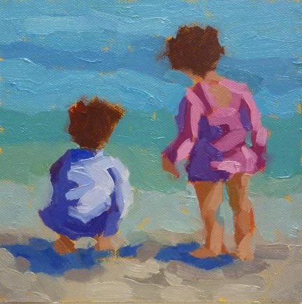 """Girls Looking Out to Sea"" original fine art by Bobbi Heath"