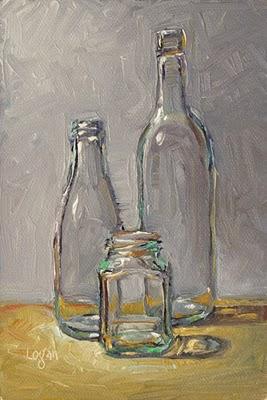 """Bottle Trio #2"" original fine art by Raymond Logan"
