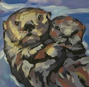 """""""Sea Queen and Pup"""" original fine art by Kat Corrigan"""