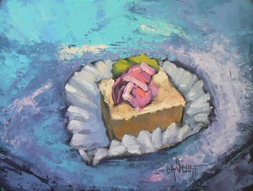 """WILD AND WACKY WEDNESDAY AGAIN!   Beau Gateau et les Petits Painting on Sale 6x8 oil"" original fine art by Carol Schiff"