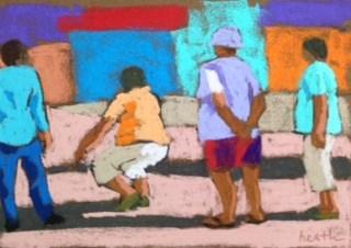 """A Serious Game"" original fine art by Bobbi Heath"