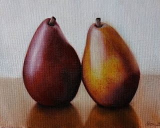 """Red Anjou Pears"" original fine art by Jonathan Aller"