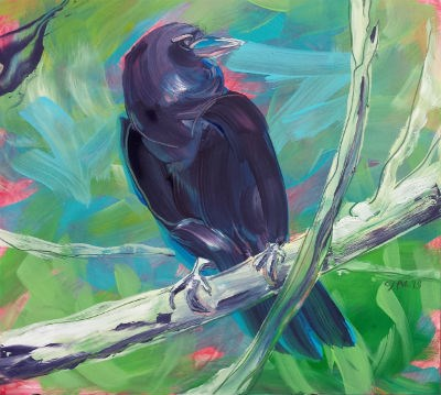"""Crow in the Tree 1"" original fine art by Pam Van Londen"