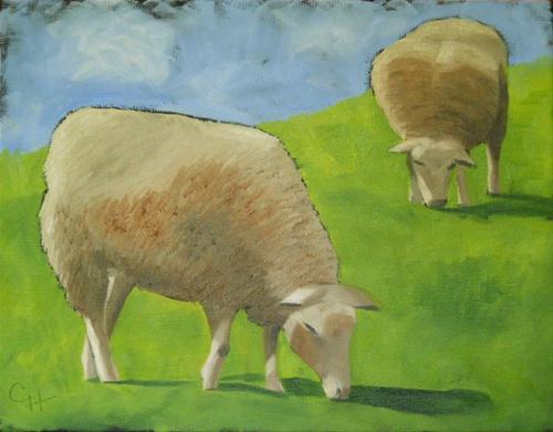 """We Like Sheep"" original fine art by Claire Henning"