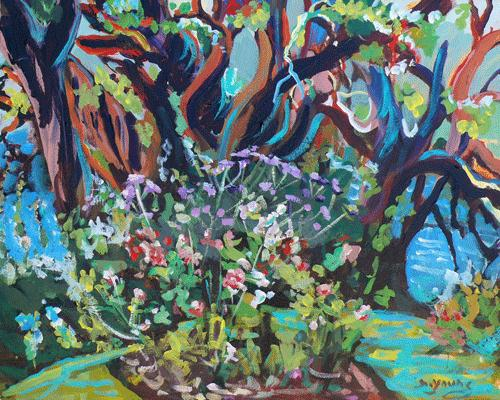 """Arbutus and Flower Bed"" original fine art by Darlene Young"