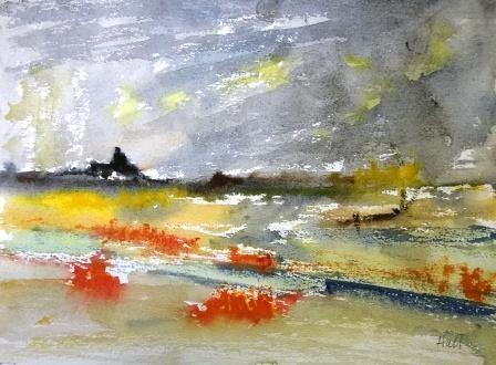 """Red Tide"" original fine art by Nancy Hall"