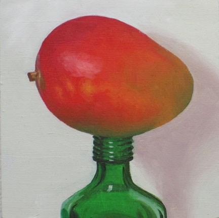 """""""Mango on green bottle"""" original fine art by Jean Wilkey"""
