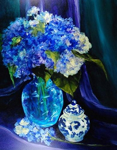 """Glowing Hydrangeas_14x11 inch acrylic still life"" original fine art by Donna Pierce-Clark"