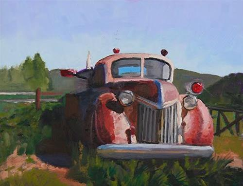 """Proud Service Old Truck Oil Painting, Red Truck, Vintage Truck Art by Colorado Artist Susan Fowler"" original fine art by Susan Fowler"