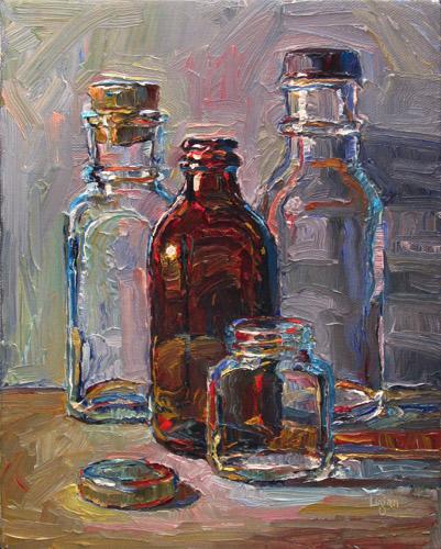 """Four Bottles"" original fine art by Raymond Logan"