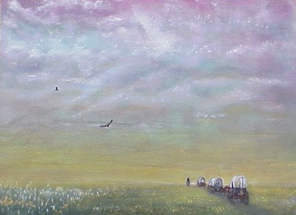 """Wagons West"" original fine art by Janice Bartke Thompson"