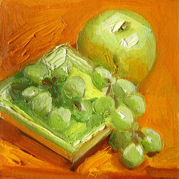 """Grapes, Apple, Orange"" original fine art by Carol Steinberg"