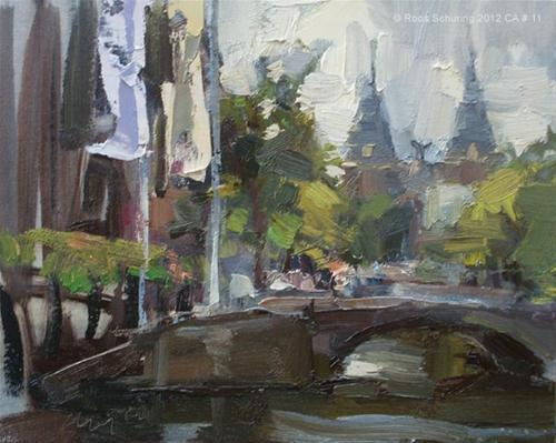 """Cityscape Amsterdam #11 Rijksmuseum flags and canal"" original fine art by Roos Schuring"