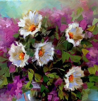"""Pink Larkspur Daisy Duet - Flower Paintings by Nancy Medina"" original fine art by Nancy Medina"