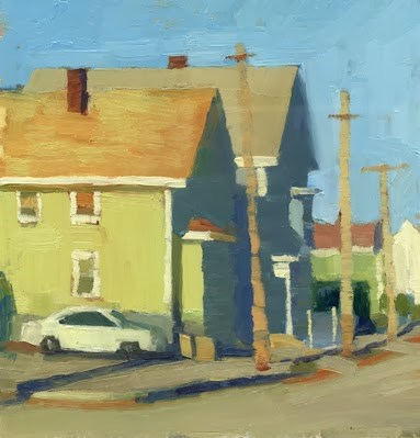 """Morning street scene"" original fine art by Kathy Weber"
