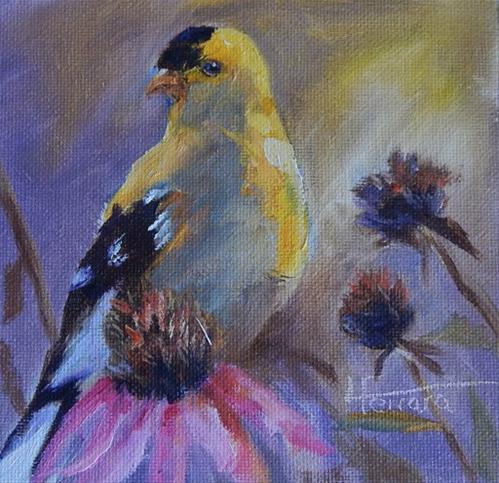 """""""Goldfinch"""" original fine art by Lina Ferrara"""