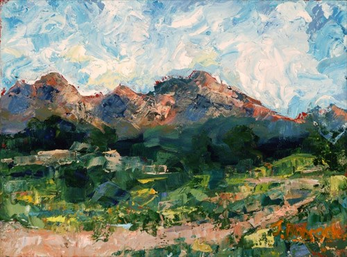 """Piney Lake Original Palette Knife Colorado Mountain Landscape Painting by Colorado Impressionist J"" original fine art by Judith Babcock"
