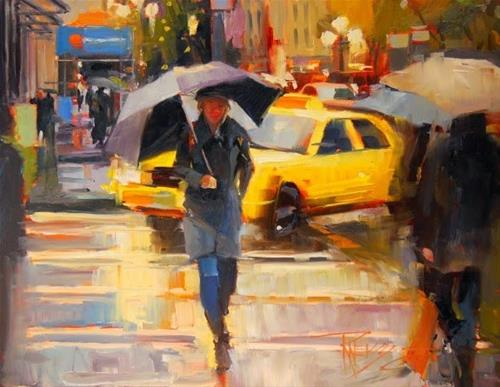 """Yellow Cab  Seattle cityscape by Robin Weiss"" original fine art by Robin Weiss"