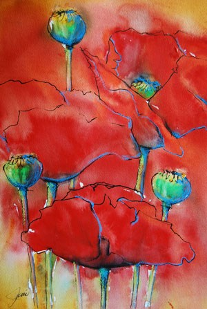 """Poppies 2 -(framed)"" original fine art by Jani Freimann"