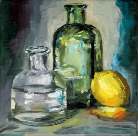 """""""bottles and lemon"""" original fine art by Evelyne Heimburger Evhe"""
