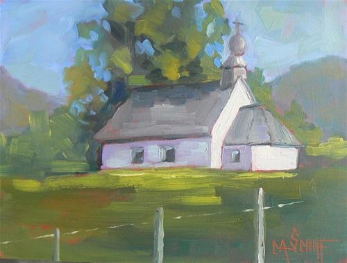 """Mountain Church II"" original fine art by Carol Schiff"