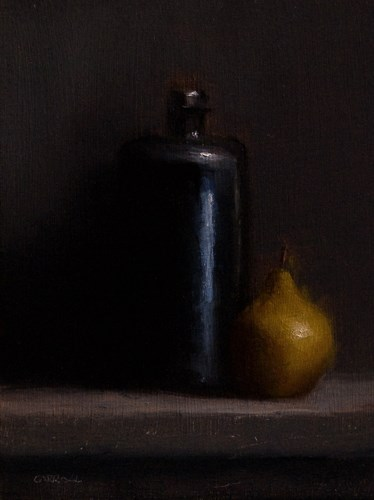 """Bottle and Pear"" original fine art by Neil Carroll"