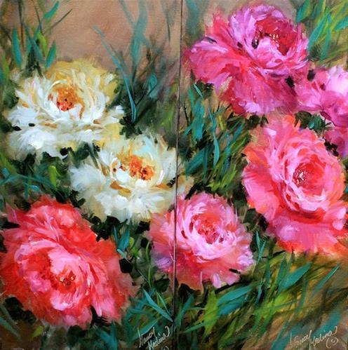 """Abundant Love Peony Garden - Diptych - and Off to France We Go!"" original fine art by Nancy Medina"