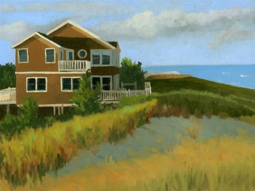 """Evening Light on Beach House"" original fine art by Nancy Herman"