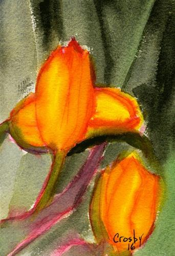 """2016 First Tulips"" original fine art by Donna Crosby"