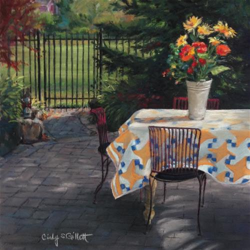 """Early Morning on the Patio"" original fine art by Cindy Gillett"