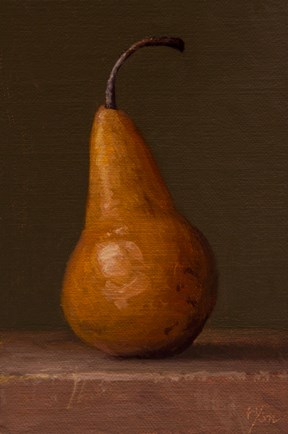 """Bosc Pear in Morning Light (Winter Solstice 12/22/15)  (+ Susan Werner)"" original fine art by Abbey Ryan"