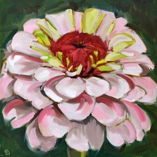 """""""Zinnia in Bloom"""" original fine art by Jessica Green"""