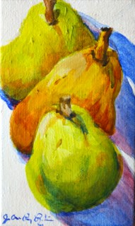 """One Pair and Three pears"" original fine art by JoAnne Perez Robinson"