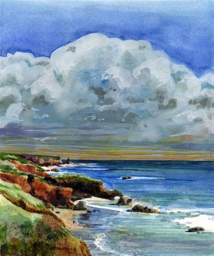 """Watercolor: Pacific Coast Clouds & Artist Goals in the New Year"" original fine art by Belinda Del Pesco"