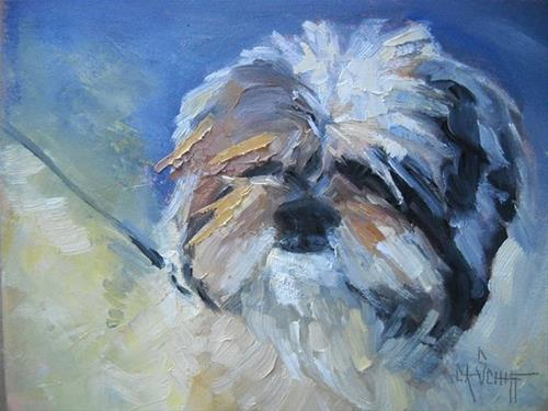 """Pet Portrait, Daily Painting, A Face to Die For by Carol Schiff, 6x8 Oil"" original fine art by Carol Schiff"