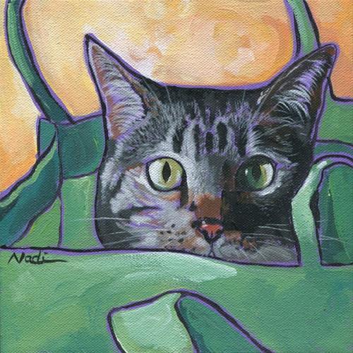 """""""Cat in a Bag 1"""" original fine art by Nadi Spencer"""