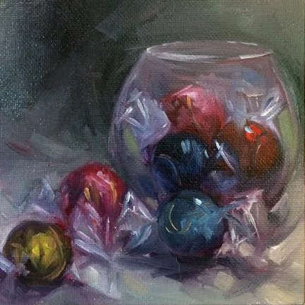 """Candy & Glass Bowl"" original fine art by Elaine Juska Joseph"