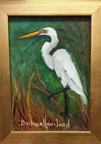 """Snowy Egret III"" original fine art by Barbara Haviland"