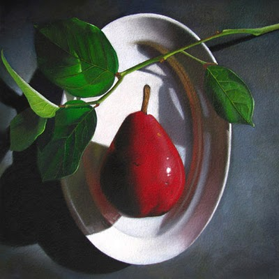 """Red Pear  6x6"" original fine art by M Collier"
