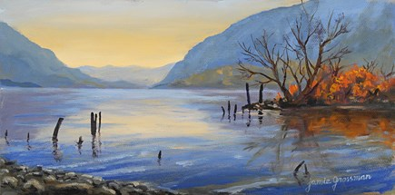 """Blues and Oranges at Plum Point"" original fine art by Jamie Williams Grossman"