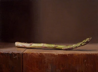 """Still Life with Asparagus Spear"" original fine art by Abbey Ryan"