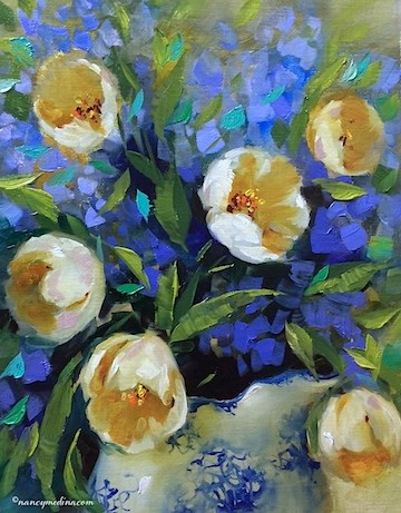 """Touch of Winter White Tulips and All Good Things Happen by Design - Flower Paintings by Nancy Medina"" original fine art by Nancy Medina"