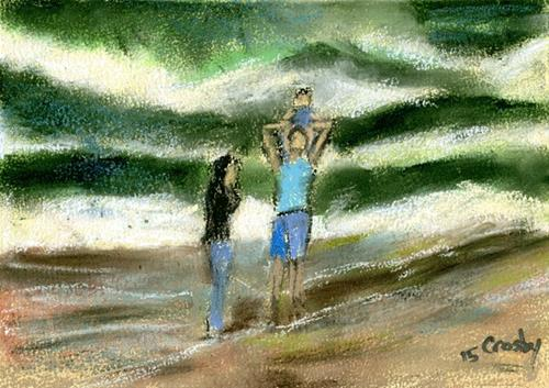 """Beach Family Time"" original fine art by Donna Crosby"