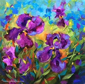 """Vanishing Violet Irises"" original fine art by Nancy Medina"