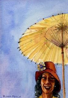 """Watercolor: Parasol"" original fine art by Belinda Del Pesco"