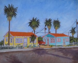 """Beach Bungalows Revisited"" original fine art by Robert Frankis"