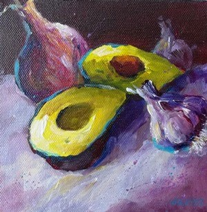 """Avocado Onion Garlic Still Life Food Art Original Painting"" original fine art by Alice Harpel"